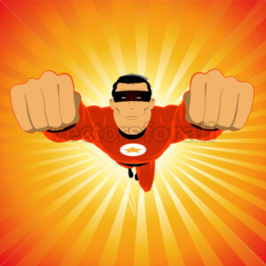 Comic-like Red Super-Hero - Benchart's Shop