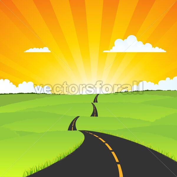 Country Road Landscape - Vectorsforall
