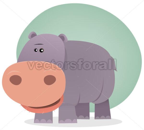 Cute Cartoon Hippo - Vectorsforall