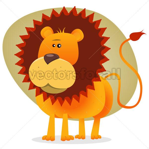 Cute Cartoon Lion King - Vectorsforall
