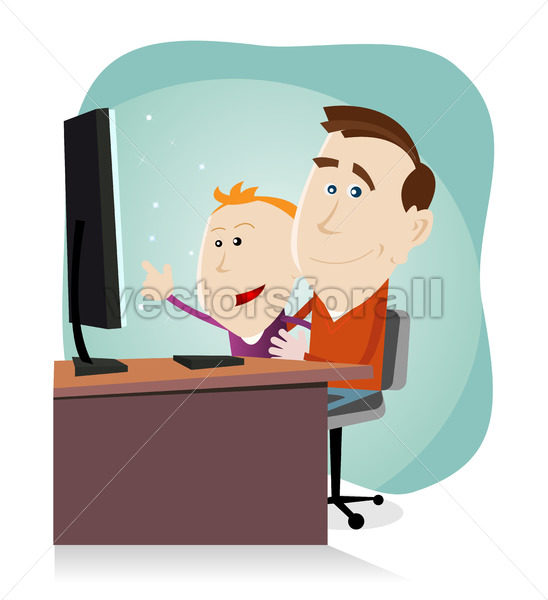 Daddy and son surfing on the net - Benchart's Shop