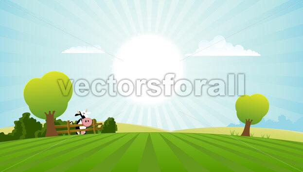 Dairy Cow In Summer Landscape - Benchart's Shop