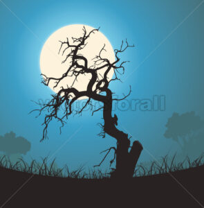 Dead Tree Silhouette In The Moonlight - Benchart's Shop