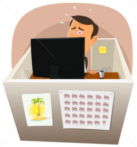 Depressive Worker At Work - Vectorsforall