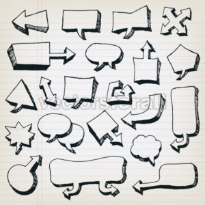 Doodle Cartoon Speech Bubbles Set - Vectorsforall
