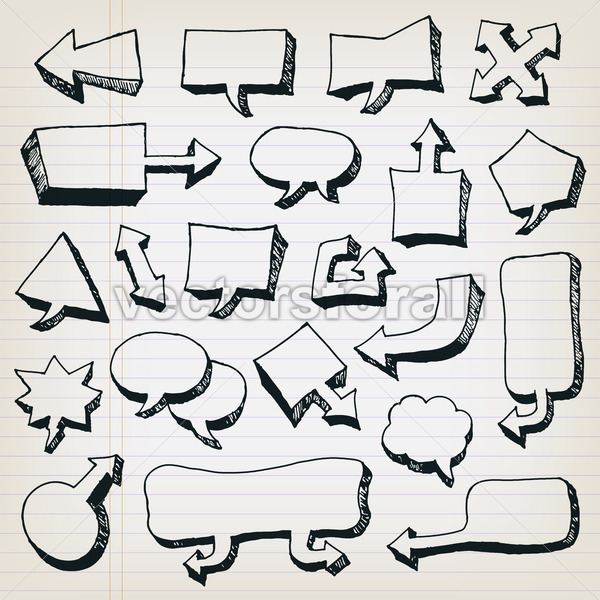 Doodle Cartoon Speech Bubbles Set - Vectorsforall