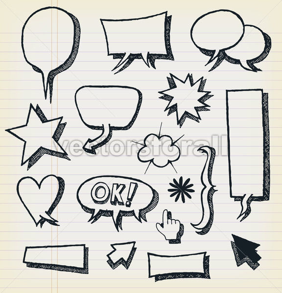 Doodle Speech Bubbles And Elements Set - Vectorsforall