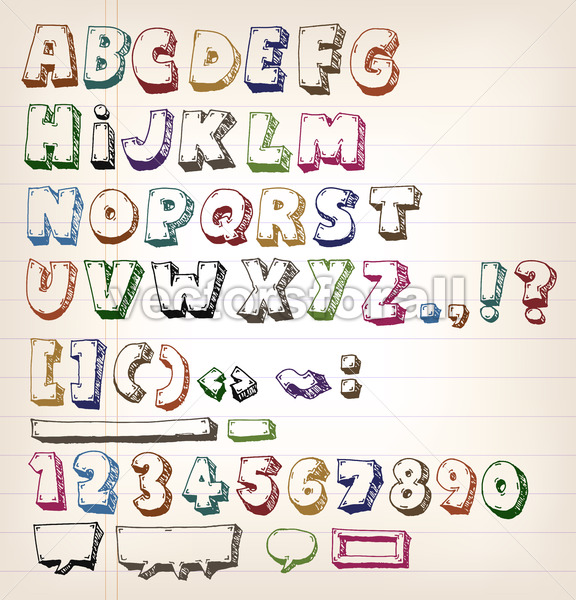 Doodle Vintage ABC Elements - Vectorsforall