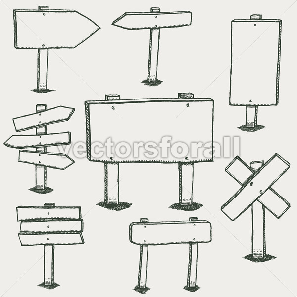 Doodle Wood Signs And Direction Arrows - Vectorsforall