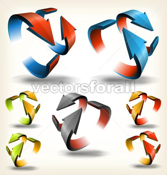 Double-sided Abstract Circular Arrows - Vectorsforall