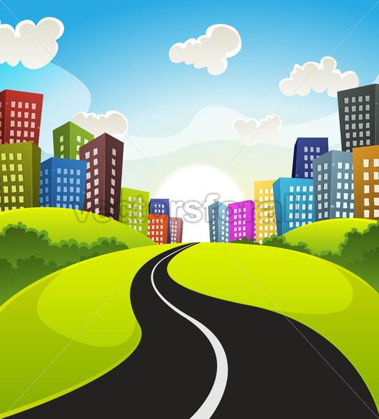 Downtown Cartoon Landscape - Vectorsforall
