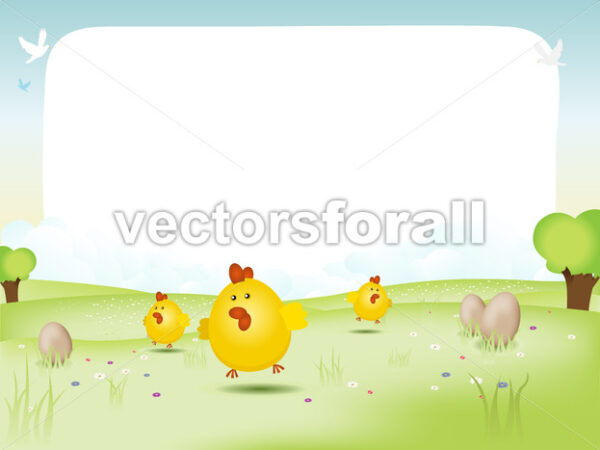 Easter And Spring Landscape - Vectorsforall
