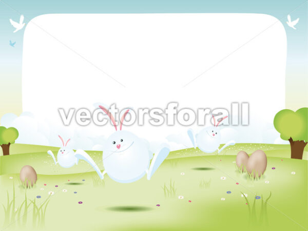 Easter Bunnies With Eggs - Vectorsforall