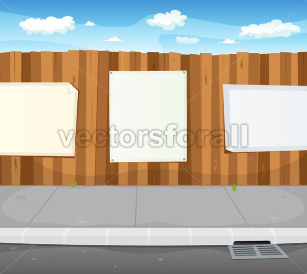Empty Signs On Urban Wood Fence - Vectorsforall