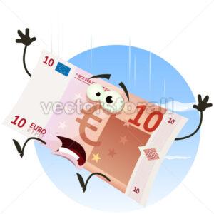 Euro Bill Character Falling - Vectorsforall