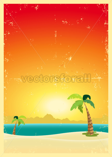 Exotic Beach Grunge Postcard - Benchart's Shop