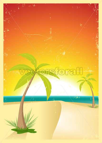 Exotic Beach Grunge Postcard - Vectorsforall