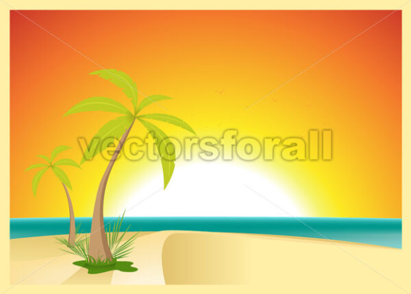 Exotic Beach Postcard - Vectorsforall