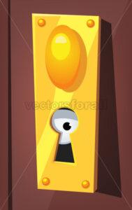 Eye Spying Behind Door Keyhole - Vectorsforall
