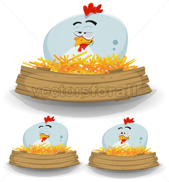 Farm Chicken Nest With Wood Banner - Vectorsforall