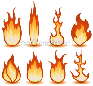 Fire And Flames Symbols Set - Vectorsforall