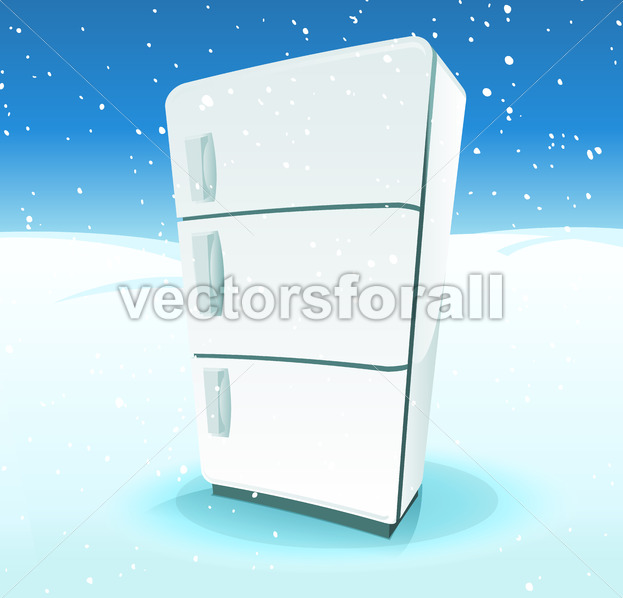 Fridge Inside North Pole Landscape - Vectorsforall