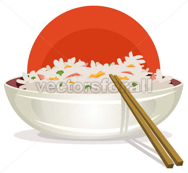 Fried Rice With Asian Chopsticks - Vectorsforall
