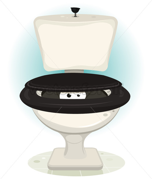 Funny Creature's Eyes Inside Water Toilet - Vectorsforall