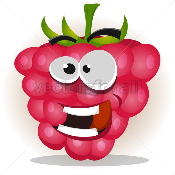 Funny Happy Raspberry Character - Vectorsforall