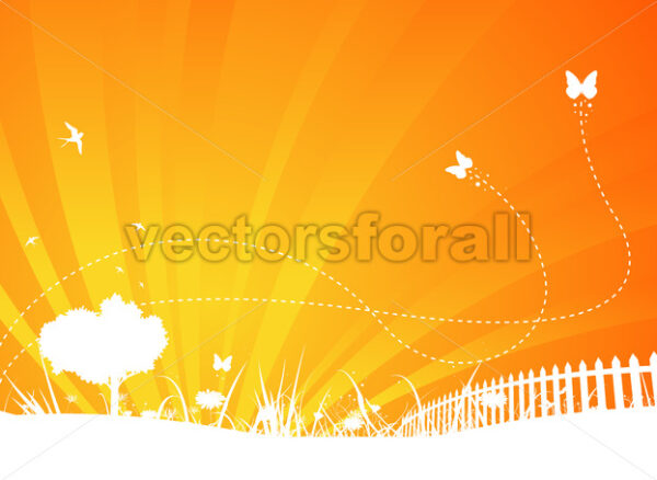 Garden Background With Butterflies And Swallows - Vectorsforall