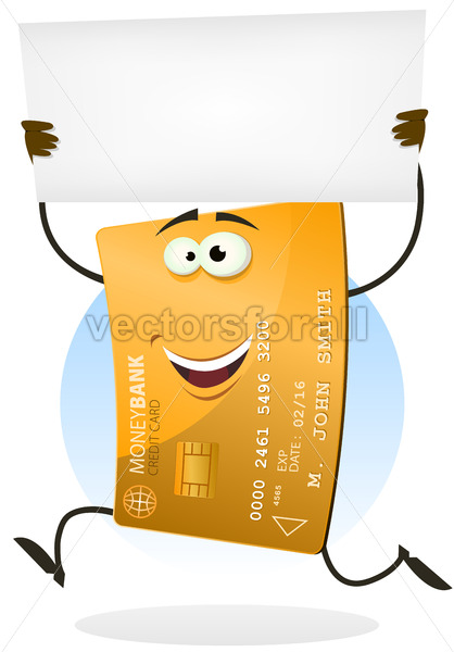 Golden Credit Card Running With Blank Sign - Vectorsforall
