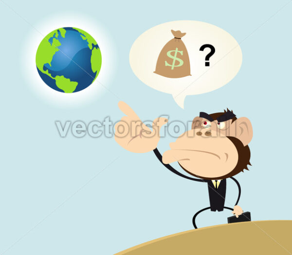 Gorilla Businessman Wanting to Make Money With Earth - Vectorsforall