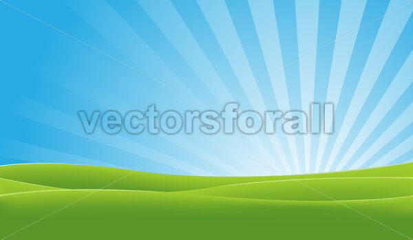 Green And Blue Landscape - Vectorsforall