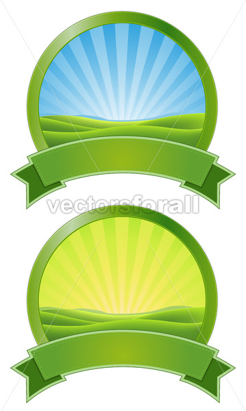 Green Sunrise Banners - Vectorsforall