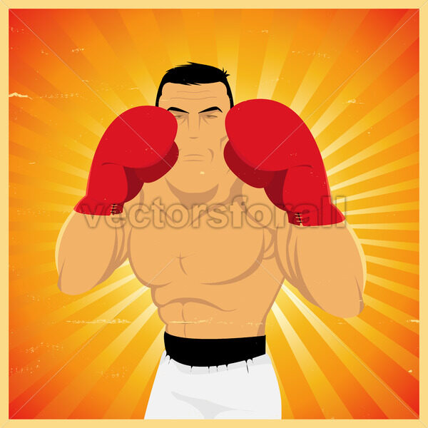 Grunge Boxer In Guard Position - Vectorsforall