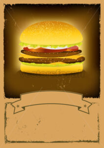 Grunge Burger Fast Food Banner - Benchart's Shop