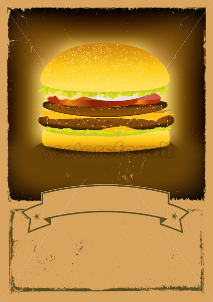 Grunge Burger Fast Food Banner - Vectorsforall