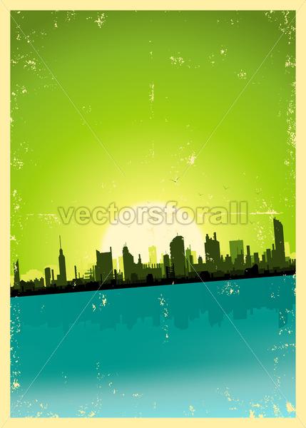 Grunge City Landscape - Vectorsforall