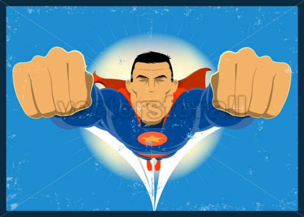 Grunge Comic-like Super-Hero - Vectorsforall