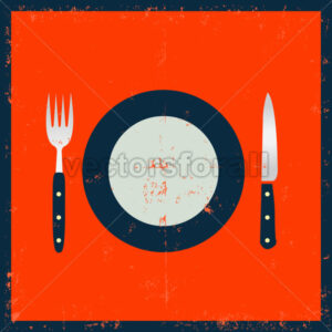 Grunge Kitchenware – Fork, Knife And Plate - Benchart's Shop