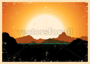 Grunge Mountains Landscape Poster - Benchart's Shop