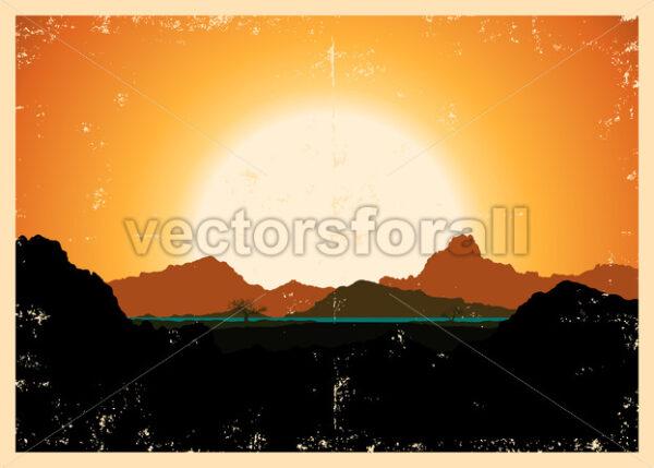 Grunge Mountains Landscape Poster - Vectorsforall
