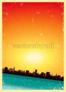 Grunge Summer Or Spring Vertical Urban Landscape - Benchart's Shop