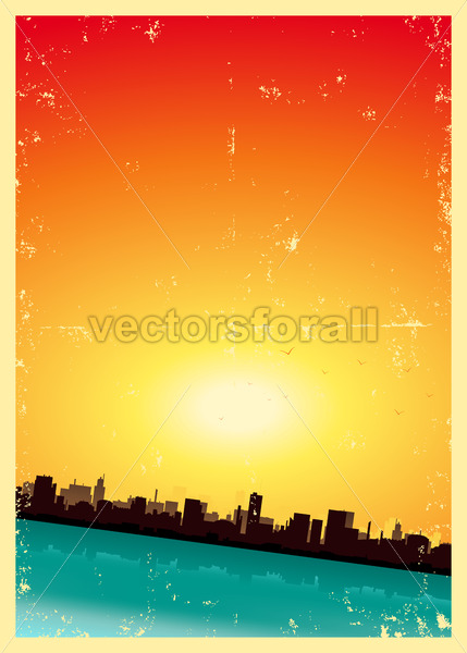 Grunge Summer Or Spring Vertical Urban Landscape - Vectorsforall