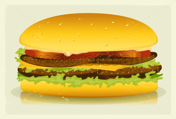 Grunge Textured Long Burger Poster - Vectorsforall