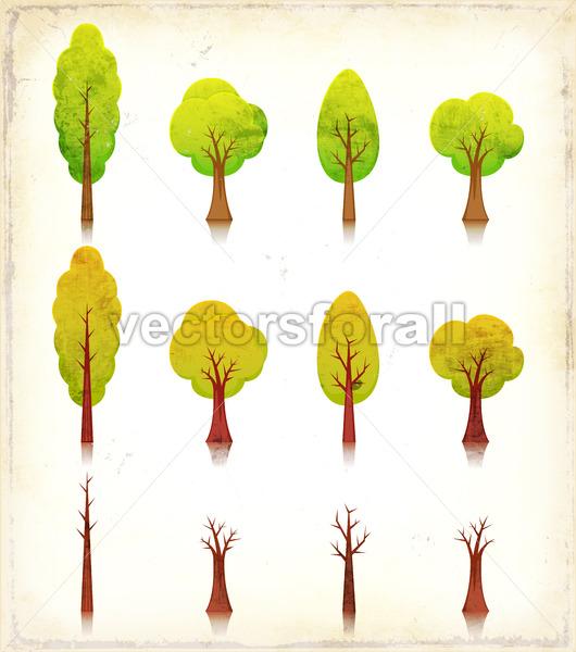 Grunge Trees Icons Set - Vectorsforall