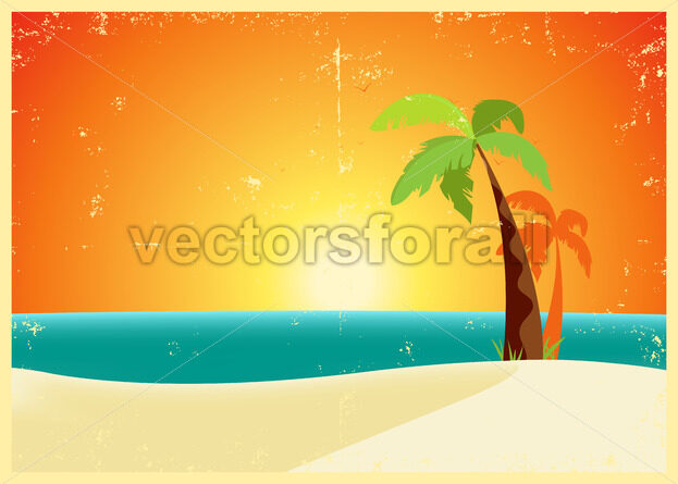 Grunge Tropical Beach Poster - Vectorsforall