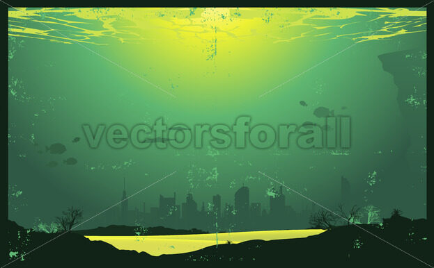 Grunge Urban Underwater Urban Landscape - Vectorsforall