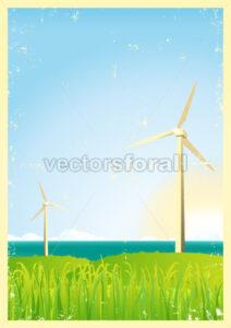 Grunge Windmills In The Ocean - Benchart's Shop