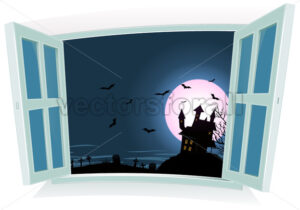 Halloween Landscape By The Window - Vectorsforall